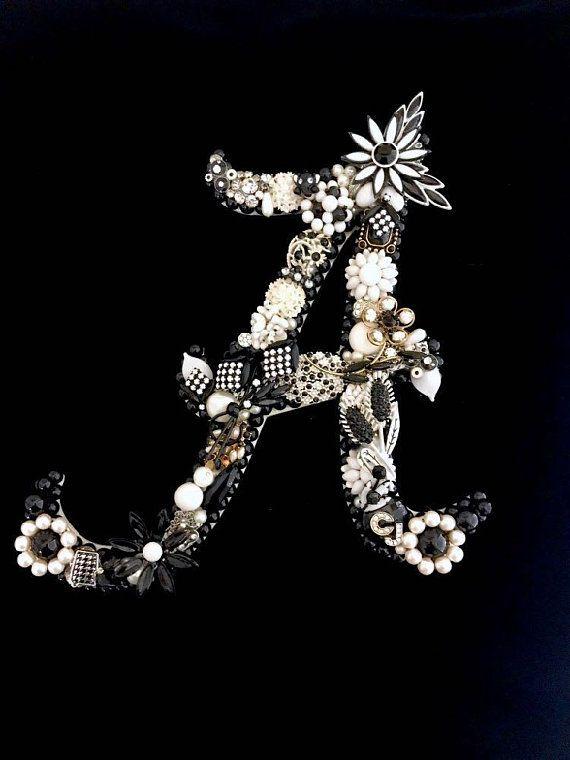 Alabama Crimson Tide Vintage Jewelry Art Jewelry Wall Art Houndstooth Alabama  Home Decor Bear