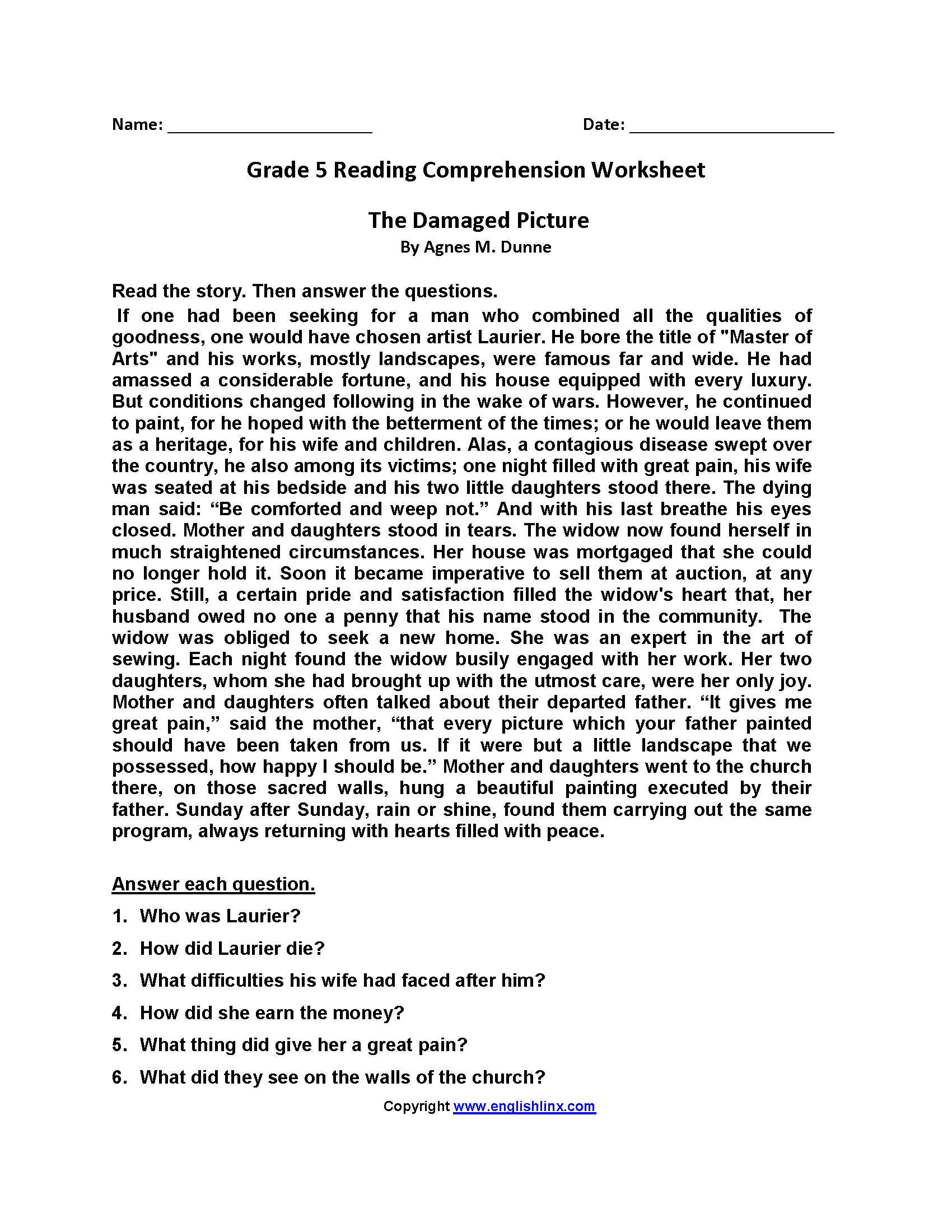 Damaged Picture Fifth Grade Reading Worksheets   Reading comprehension  worksheets [ 2200 x 1700 Pixel ]