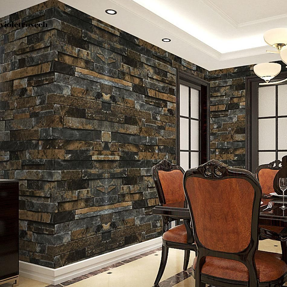Type1 X23 New Retro 3d Effect Natural Embossed Stack Stone Brick Tile Print Wall Vilr Type X3a Wallpaper Lo Stone Wallpaper Brick Wallpaper Rustic Stone