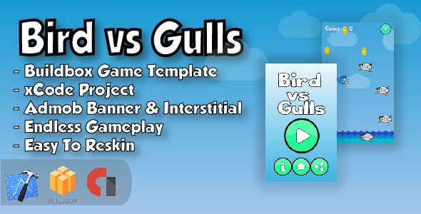 Bird Vs Gulls Xcode Ios Project And Buildbox Game Template Retro