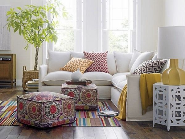 contemporary living room ottoman pouf sectional sofa Moroccan style side  table ethnic rug - Contemporary Living Room Ottoman Pouf Sectional Sofa Moroccan