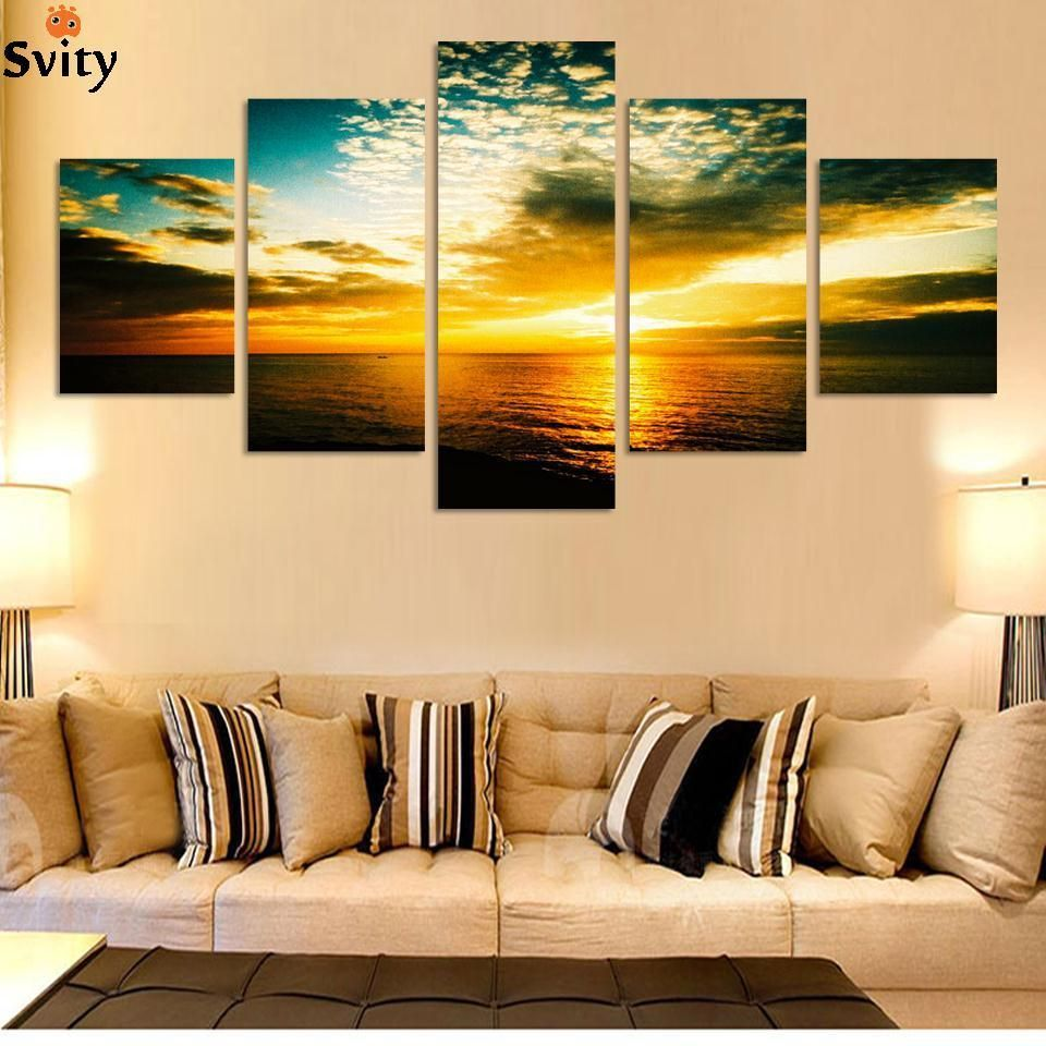 6pcs/set large Beauty Sea view modern wall prints on Canvas picture ...