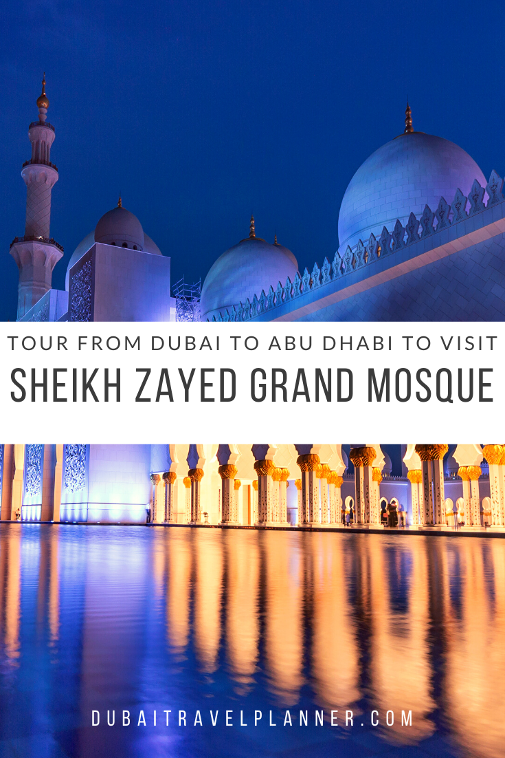 Are you staying in Dubai but looking to visit the UAE's most iconic and beautiful building the Sheikh Zayed Mosque in Abu Dhabi? We take you through all the different transport options to get you from Dubai to Abu Dhabi in one day along with handy tips and FAQ for visiting the Grand Mosque | Dubai | Dubai Travel Planner | #mosque #abudhabi #dubai #visitdubai #uae #grandmosque