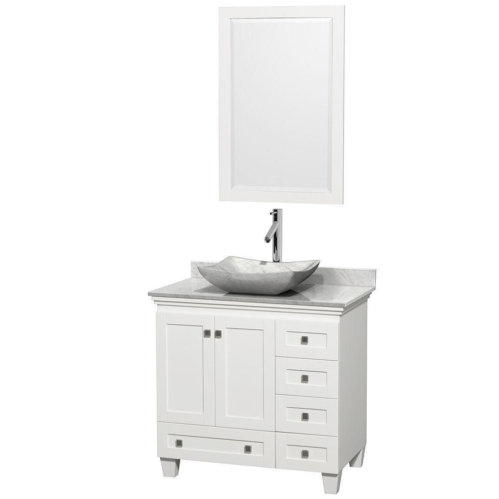 Acclaim 36 Inch W 5 Drawer 2 Door Freestanding Vanity In White