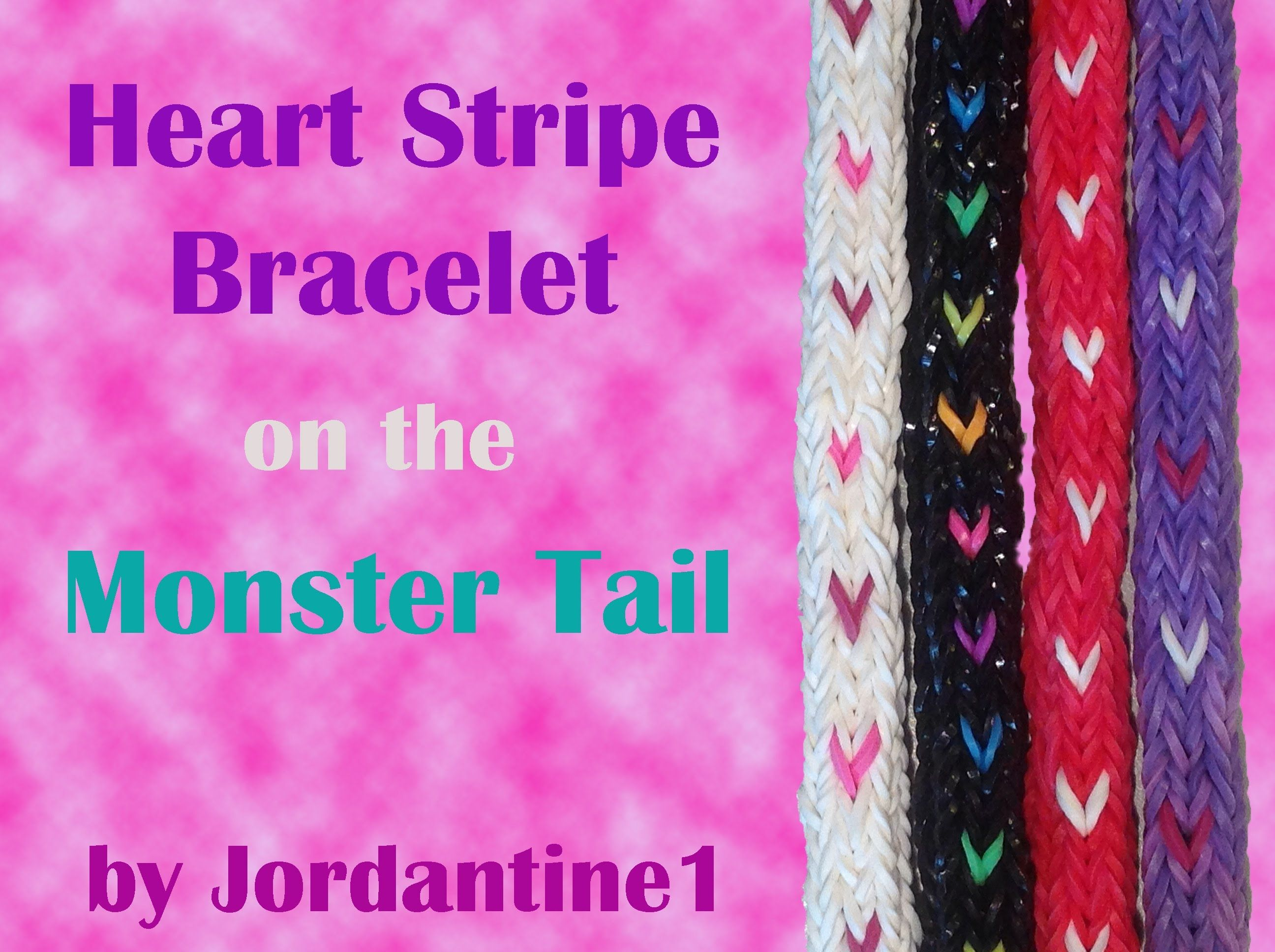 Heart Stripe Bracelet made on the Monster Tail - Rainbow Loom