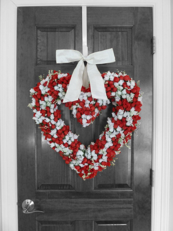 Heart Wreath, Hoilday Wreath Front Door Wreath Valentine/'s Wreath