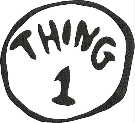 13804c0345e54 Dr. Seuss Thing 1 Machine Embroidery Design 4x4 and 5x7 Bernina ...