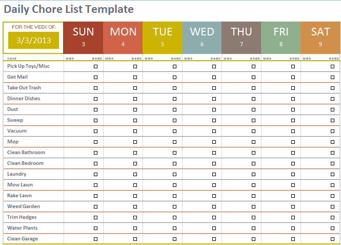 Daily Chore List Template | Stationary Templates | Pinterest ...