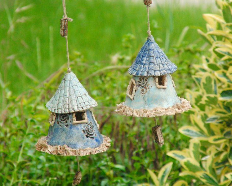 zwei keramik glocken juniblau von nandomo kleine welten aus ton auf for home in. Black Bedroom Furniture Sets. Home Design Ideas