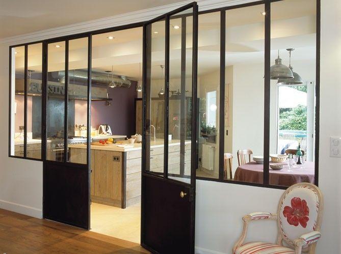 Porte et fen tre en acier style atelier maison fen tres Porte de cuisine vitree