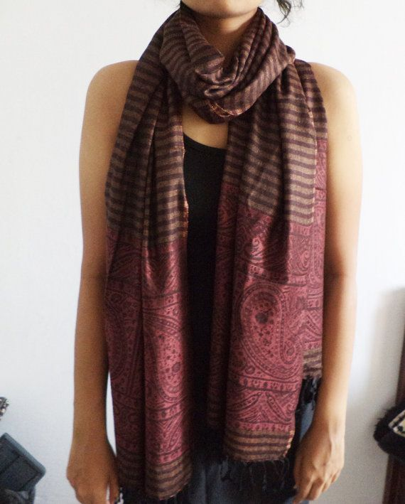 Striped Pashmina Scarf Indian Shawl/Scarf Wrap by Indianparadise, $17.00
