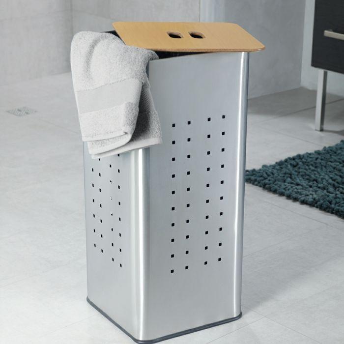 panier à linge en inox, très résistable à lu0027humidité Salle de bain