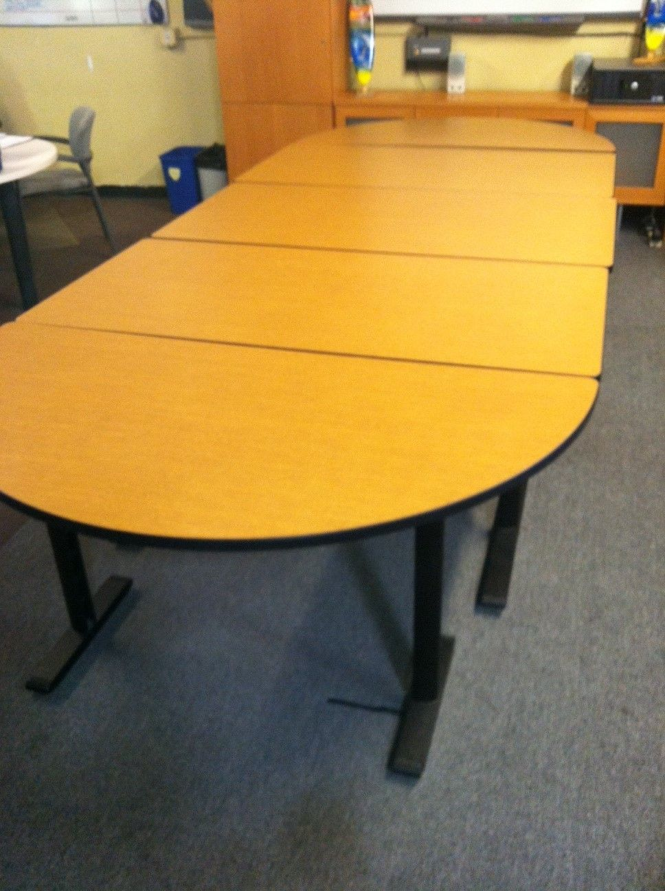 Used Training Tables These Unique Laminate Racetrack Tables Are Available As 10 X 5 Or 12 5 X 5 Conference Tables O Training Tables Table Conference Table