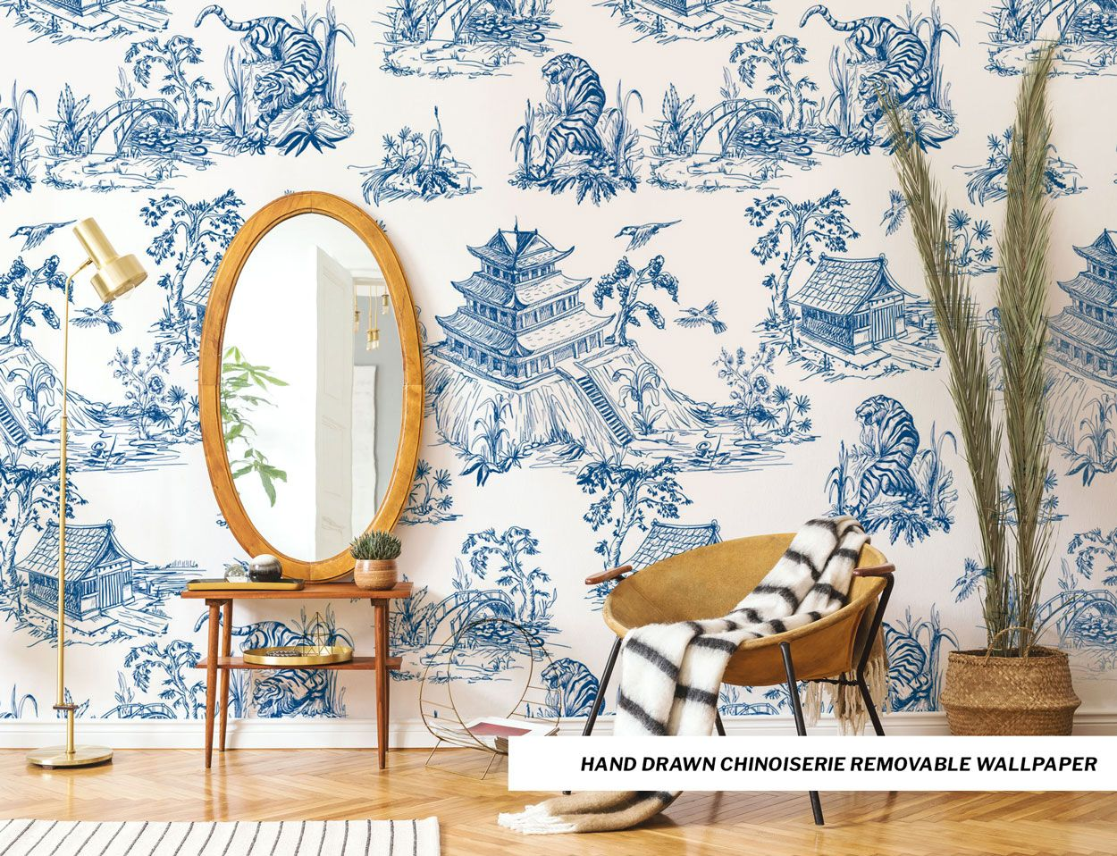 Featured Removable Wallpaper Hand Drawn Chinoiserie Removable Wallpaper Forest Wallpaper Wallpaper