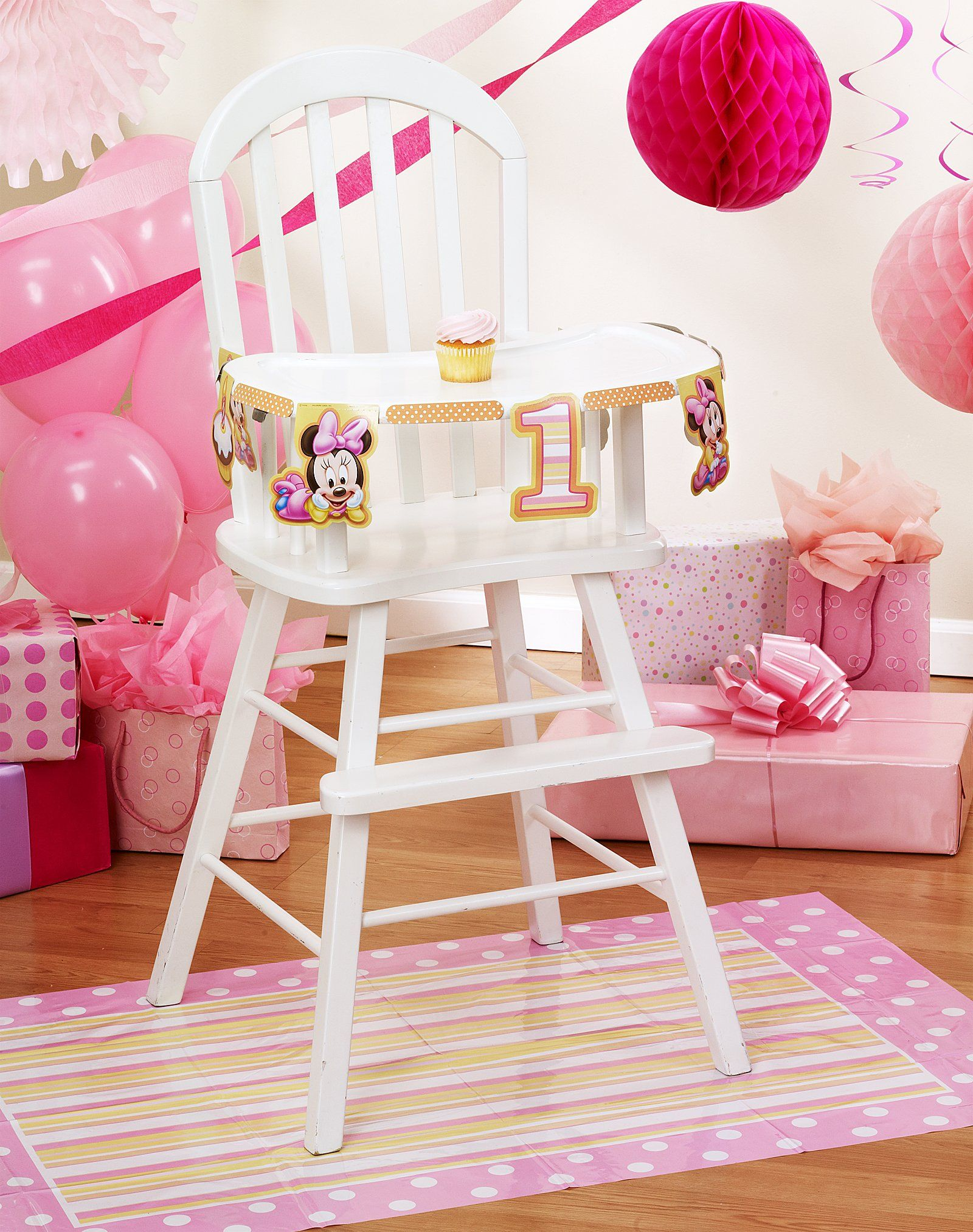 Astounding Disney Minnies 1St Birthday High Chair Decorating Kit Download Free Architecture Designs Intelgarnamadebymaigaardcom