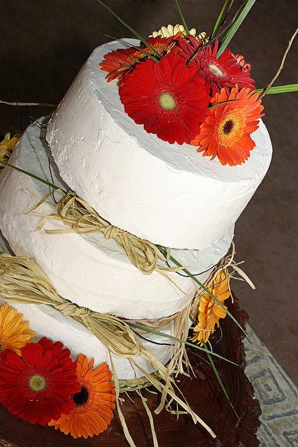 Not loving the flowers, but interesting rustic-style cake.
