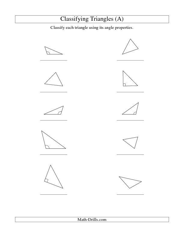 Classifying Triangles By Angle Properties A Homeschool