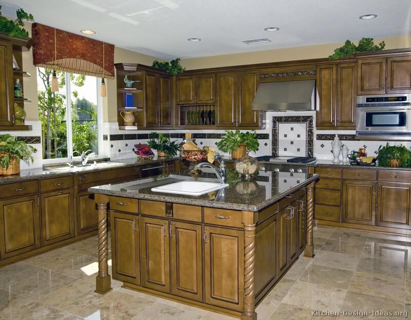 Traditional Medium Wood-Olive Kitchen Cabinets #09 (Kitchen-Design ...