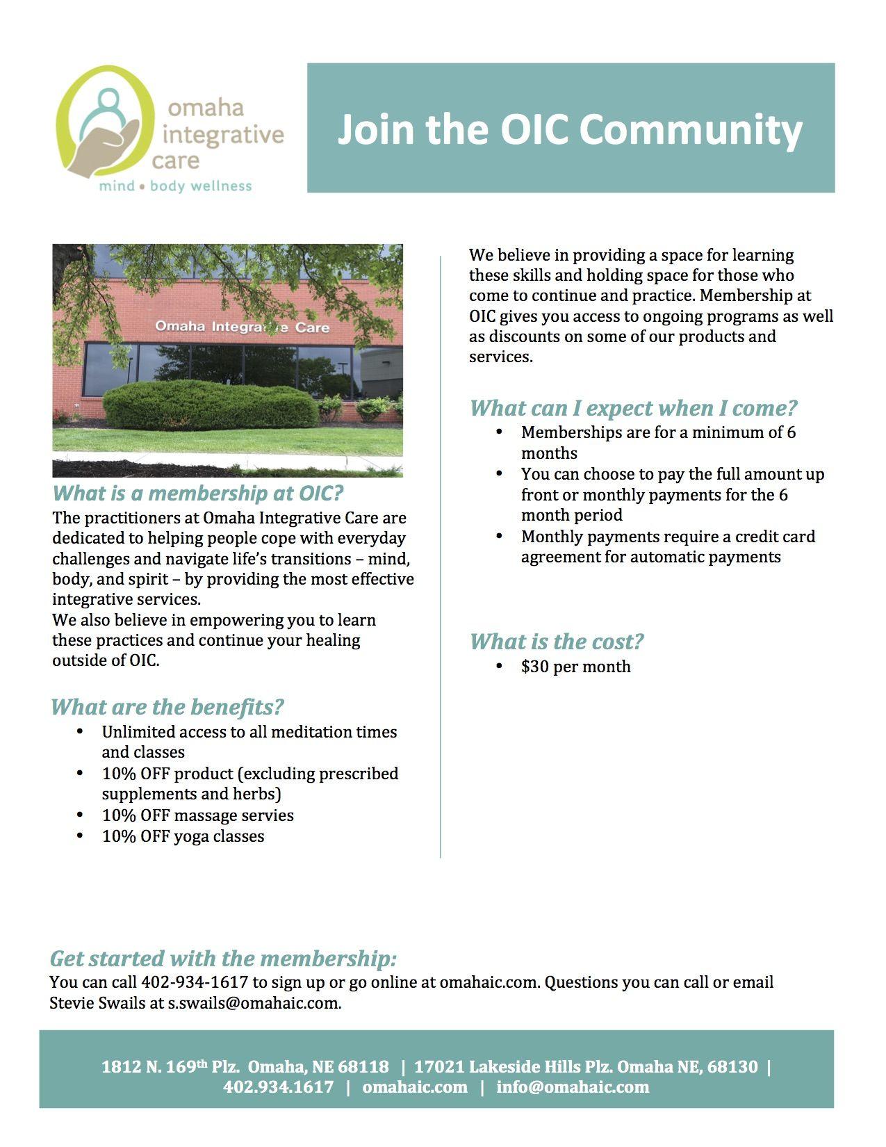 Memberships At Oic Wellness Mindfulness Community