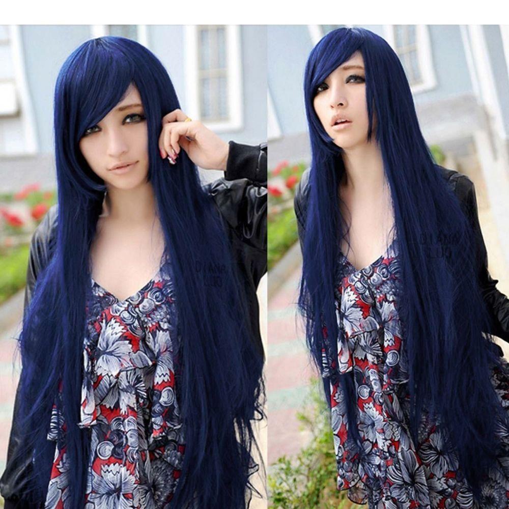 Fashion deep blue long straight hair weave full wigs anime