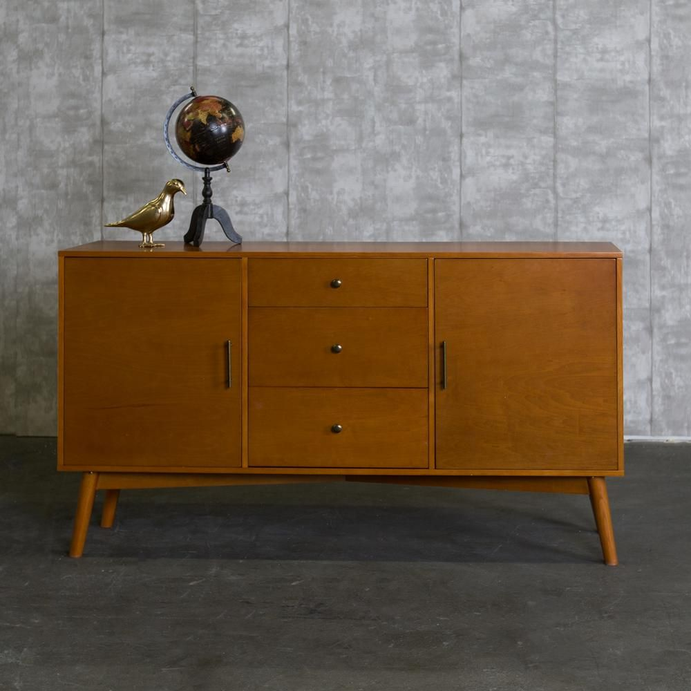 262d89aa3f772 Walker Edison Furniture Company 60 in. Mid-Century Modern Wood TV Console -  Acorn-HD60CMCAC - The Home Depot