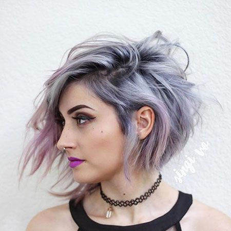 Short Purple And Silver Hair