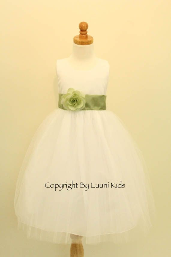 f49f59197f Flower Girl Dress - IVORY Tulle Dress with Green SAGE Sash - Easter ...