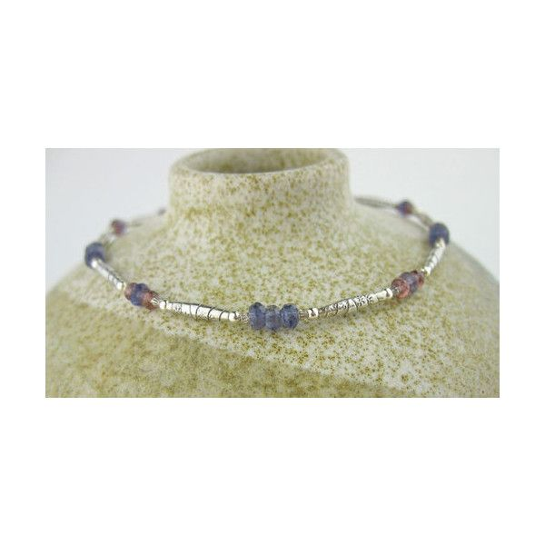 Gemstone Blue Red Gray Anklet Labradorite Iolite Garnet Silver Bead ❤ liked on Polyvore featuring jewelry, blue gemstone jewelry, garnet jewellery, garnet jewelry, gemstone jewellery and red garnet jewelry