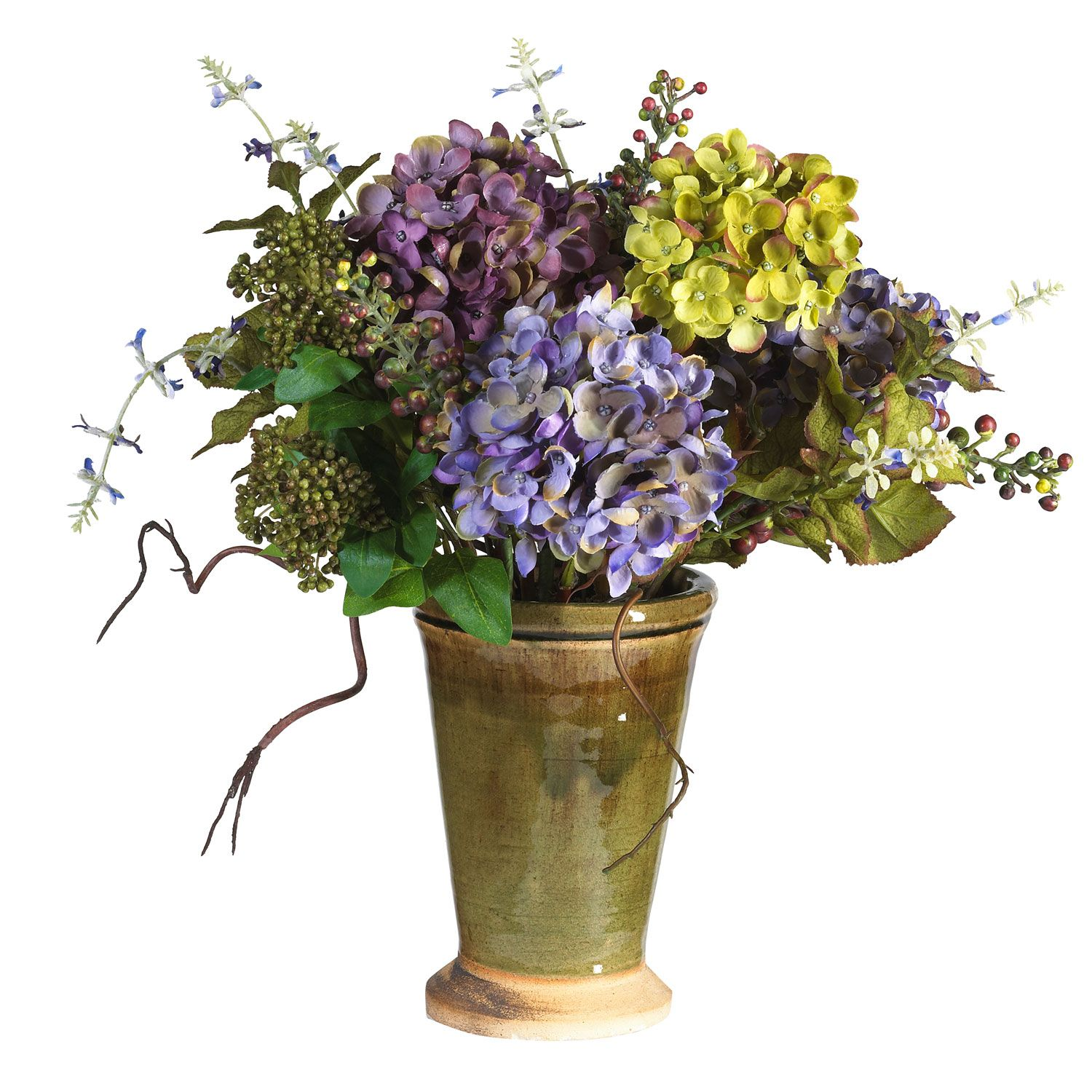 Mixed hydrangea wvase flower arrangements silk flowers and nearly natural artificial mixed hydrangea with ceramic silk flower arrangement multicolor reviewsmspy