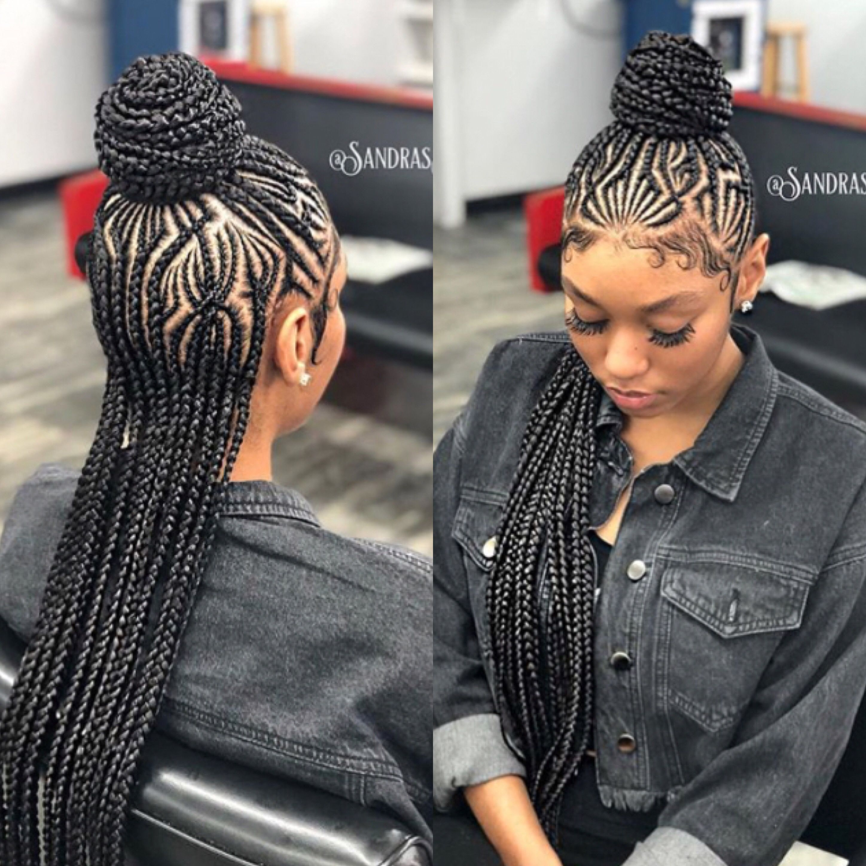 cornrowsfront & back view of a stylish and #slayed