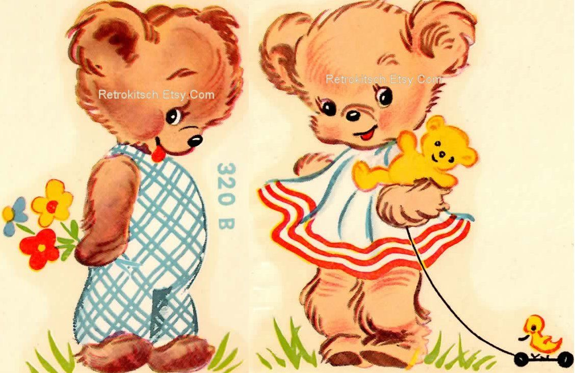 Cute Vintage 1950s Nursery Animal Duro Decals Happy Teddy Etsy Animal Nursery Vintage Images Vintage Illustration