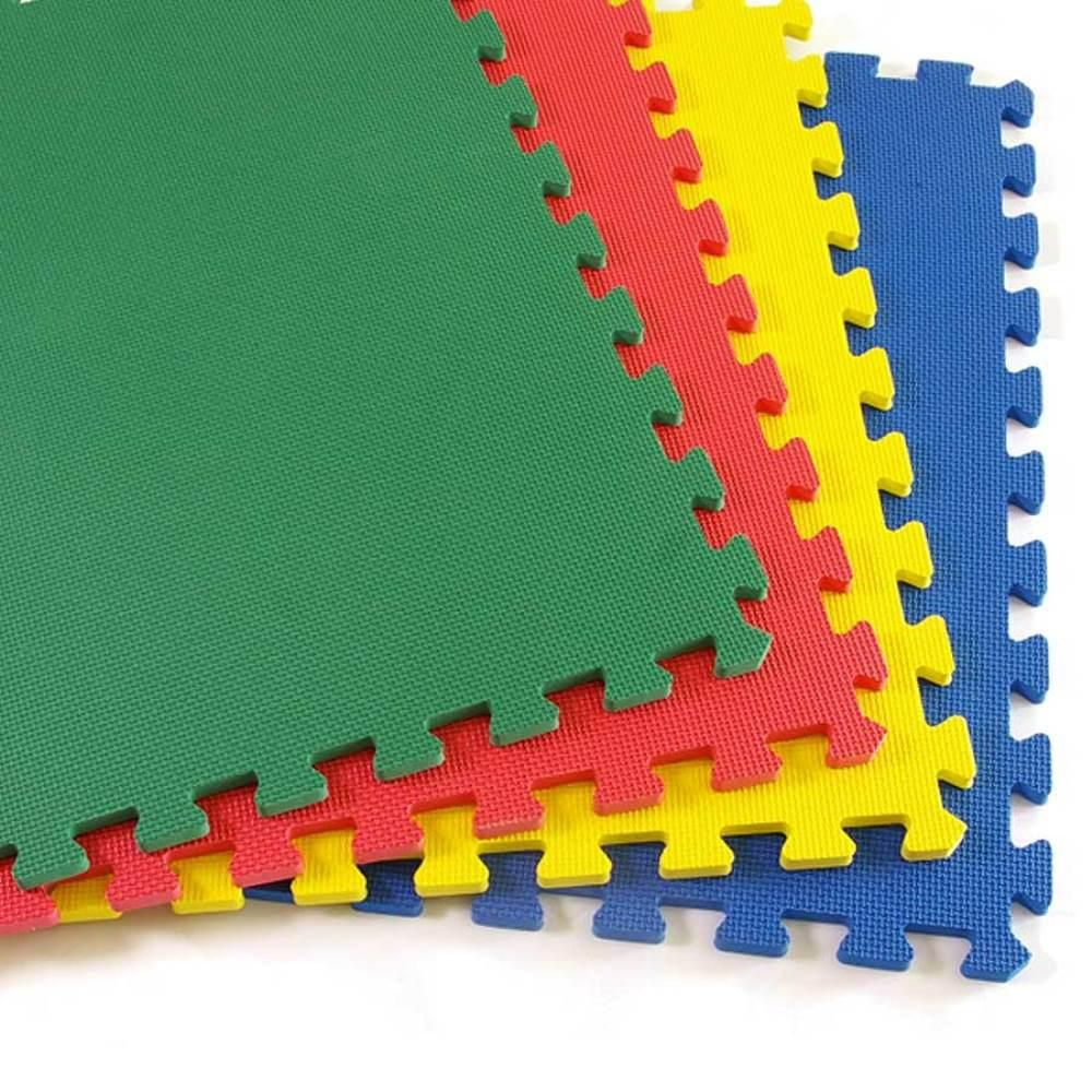 Greatmats Greatplay Blue Green Red And Yellow 2 Ft X 2 Ft X 1 2 In Foam Puzzle Floor Mats Case Of 16 Df124pk 16pk The Home Depot Blue Floor Mat Foam Tiles Multipurpose Flooring