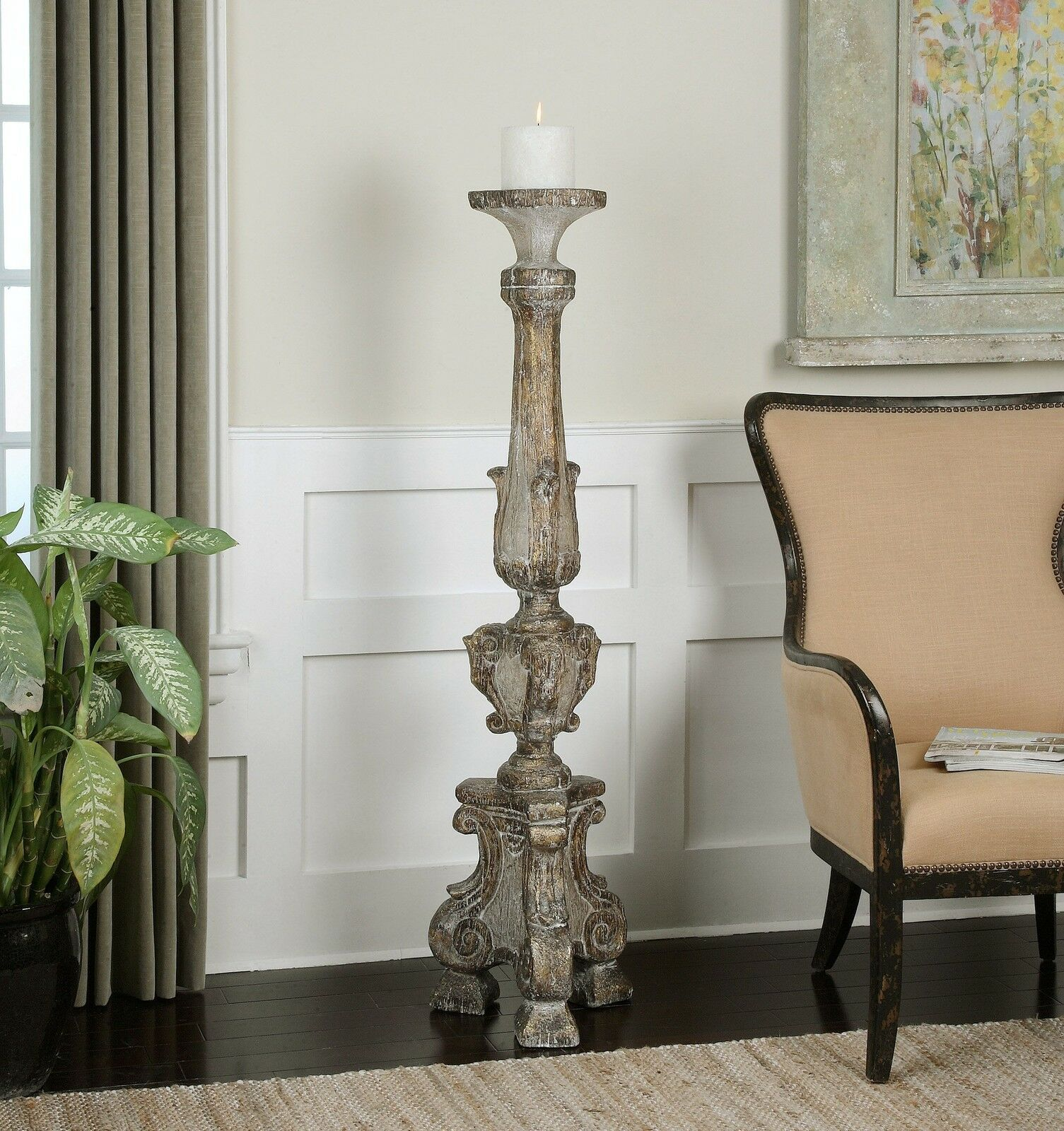 Oversize 57 Floor Candle Holder Old World Tall Distressed 707430505302 Ebay Floor Candle Holders Floor Candle Floor Pillar Candle Holders