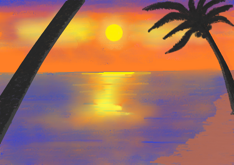 Easy Beach Sunset Paintings For Beginners