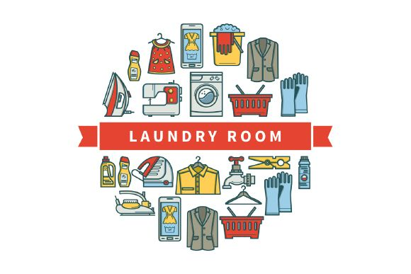 Free Laundry Room Linear Icons Desain