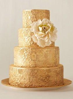 Gold, lace wedding cake