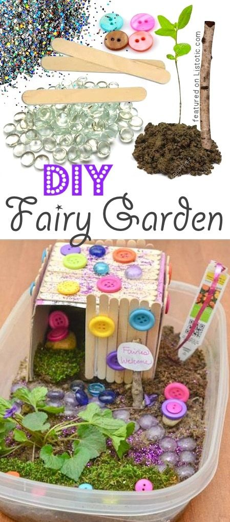 DIY Outdoor Fairy Garden for kids. A ton of DIY super easy kids crafts and activities for boys and girls! Quick, cheap and fun projects for toddlers all the way to teens! Listotic.com