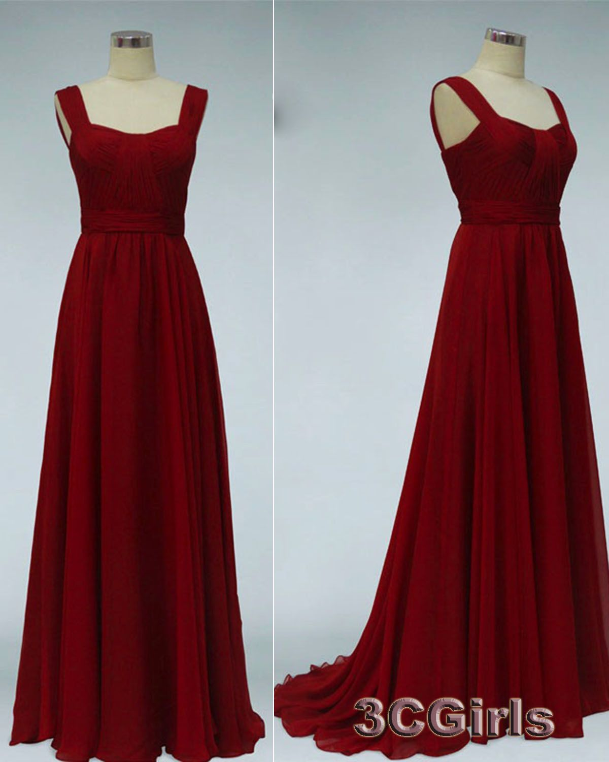 Noble red wide straps sweetheart evening dress classical prom dress