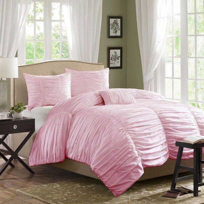 Horizon Ruched Bedding Set, Light Pink