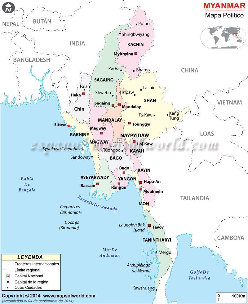 myanmar mapa mundi  Buscar con Google  Myanmar Naypyidaw