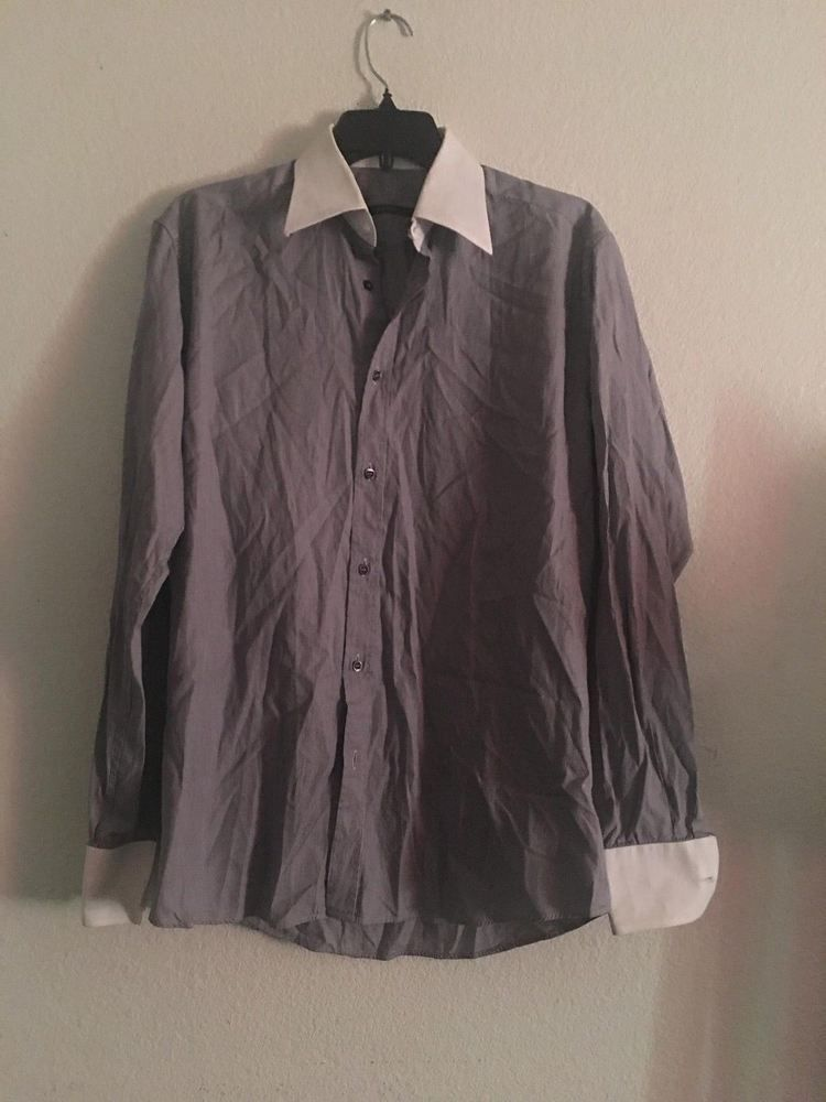 0ecf43f01d8 Men s Unbranded F29 Gray Dress Shirt Size 38 MADE IN ITALY  fashion   clothing  shoes  accessories  mensclothing  shirts (ebay link)