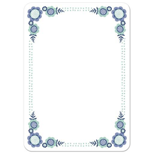 Cute, blank note card stationery with pretty floral corners with flowers and leaves in shades of blue and blue-green and a double dot border. A cute, modern and somewhat whimsical design.