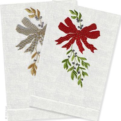 The perfect way to welcome your guests and dress up a powder room for the holidays. Bow & Mistle design is embroidered on 100% linen guest towels in 2 colorways.