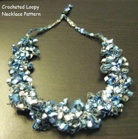 Crocheted Trellis Ladder Yarn Loopy Necklace Pattern