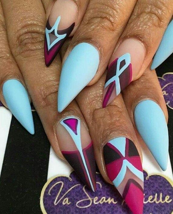 Blue matte nails design nailart #mattenails