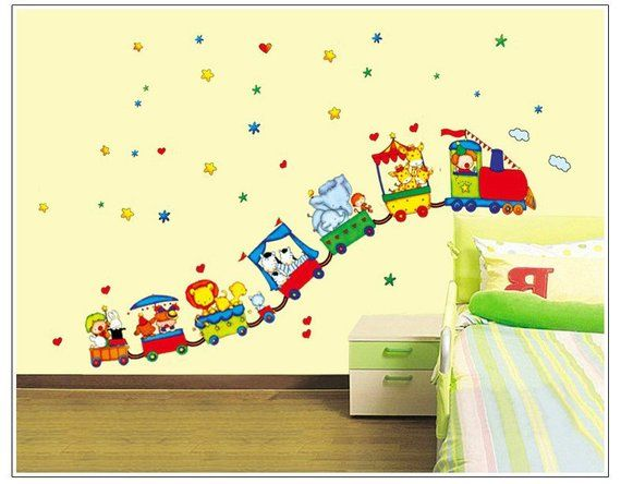 Wall Sticker Decal Animal Circus Train Kids Children Bedroom Daycare ...