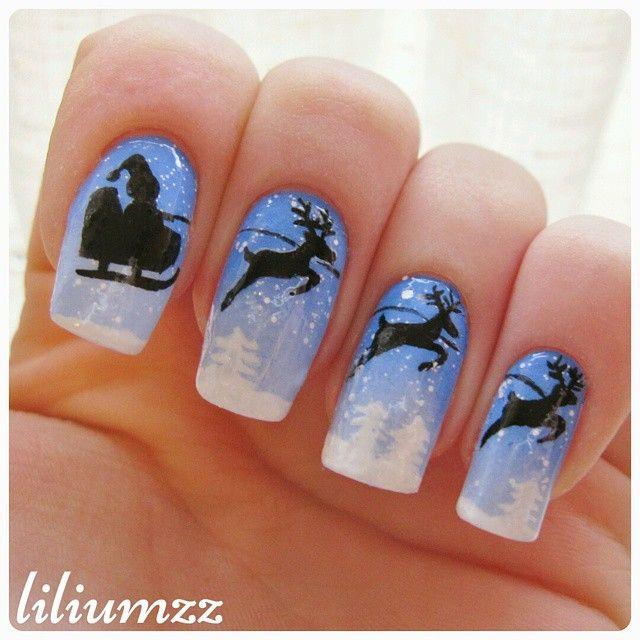 I created this cute mani with Santa and his reindeer. Hand painted! Check out my instagram @liliumzz   #nail #nails #nailart #naildesign #nailpolish #nailstagram #manicure #mani #neglelakk #manikyr #instanails #nagellack #nailspiration #nagellack  #notd #nailsoftheday #liliumzz #cutenails #cutemani #nails2inspire #winternails #christmasnails #santa #santaclaus #reinsdyr #reindeer #ombrenails #ombre #winterwonderland