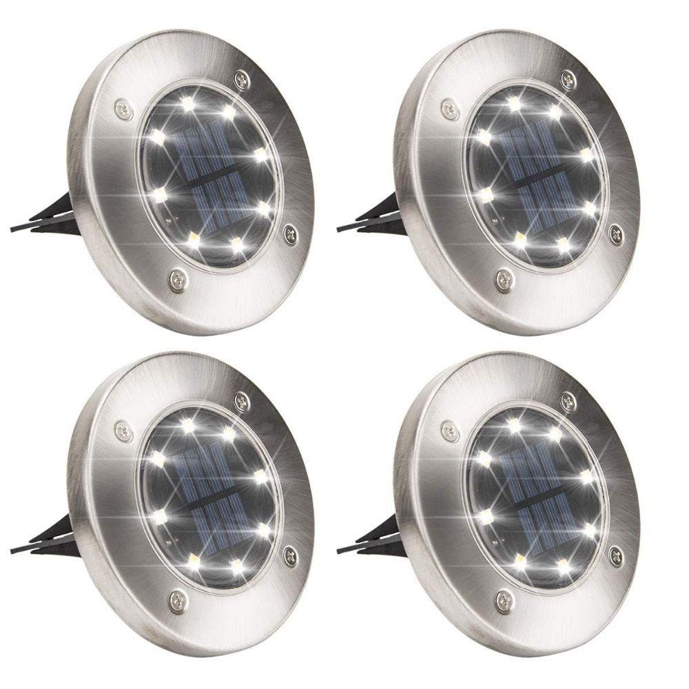 Solar Powered Disk Lights 8/12 LED Solar Pathway Lights