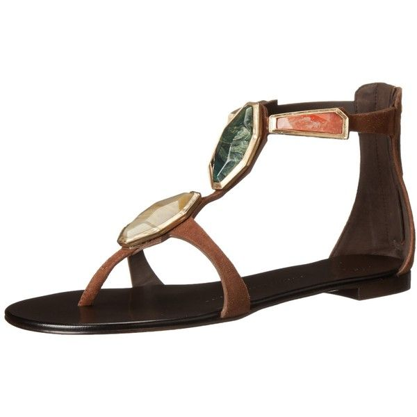 Giuseppe Zanotti Women's Flat Stones Dress Sandal (305 CAD) ❤ liked on Polyvore featuring shoes, sandals, embellished flat sandals, zipper shoes, t strap dress sandals, giuseppe zanotti sandals and dress sandals