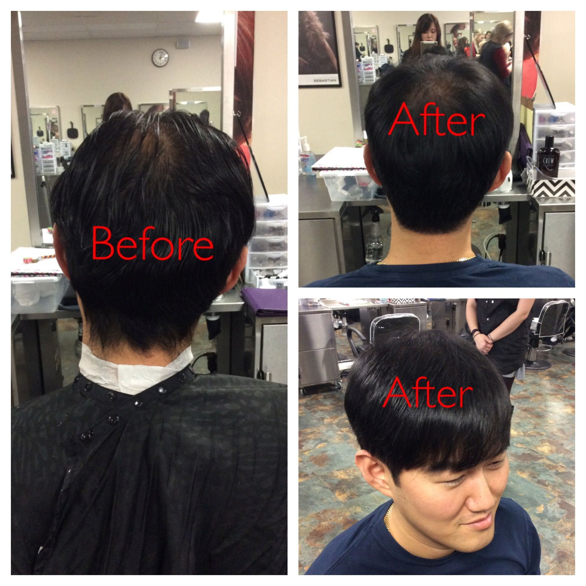 Mans Haircut Low Fade On The Side Blocked Out Natural Edge Side